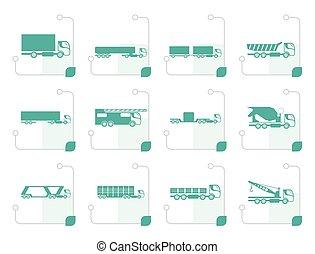 differente, camion, camion, icone, stilizzato, tipi