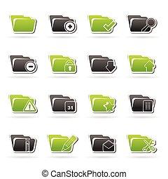 differente, cartella, tipo, icone