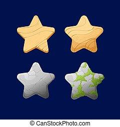 differente, cartone animato, stars.