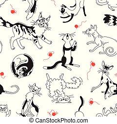 differente, cartoon., modello, allevare, stile, skeins, vettore, seamless, fondo, scarabocchiare, gatti, gatto, gioco, yarn.