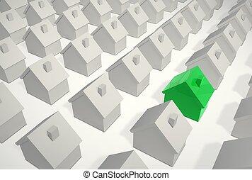 differente, casa, -, singolo, verde, beeing