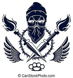 differente, cattivo, aggressivo, disegno, armi, anarchia, vettore, rivoluzione, tatuaggio, tumulto, ribelle, logotipo, o, emblema, caos, cranio, partigiano, elementi, revolutionary.