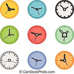 differente, collezione, clocks