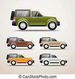 differente, colorare, automobili, vettore, illustrazione