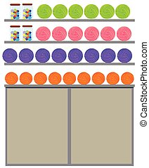 differente, colorare, filato, su, il, mensola