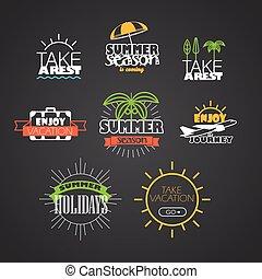 differente, colorare, vacanza, collezione, logotipo, viaggio