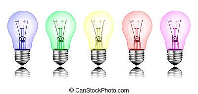 differente, colorato, -, isolato, idee, lightbulbs, nuovo, ...