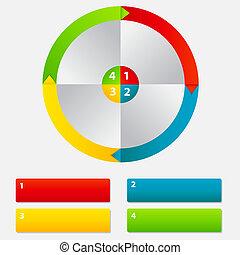 differente, concetto, colorito, affari, frecce, illustrazione, vettore, bandiere, circolare, design.