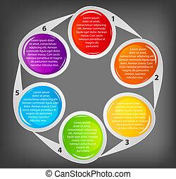 differente, concetto, colorito, illustrazione affari, vettore, bandiere, circolare, design.