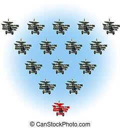 differente, concetto, concept., direzione, retro, condottiero, unico, cartone animato, aeroplano