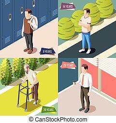 differente, concetto, disegno, generazioni, 2x2
