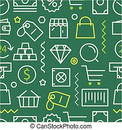 differente, concetto, shopping, pattern., seamless, lineart