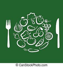differente, cornice, rotondo, combinato, -3, frutte, verdura