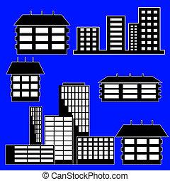 differente, -, costruzioni, illustrazione, case, vettore, tipo
