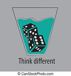 differente, cubo, ghiaccio