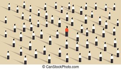 differente, direzione, stare in piedi, folla, fuori