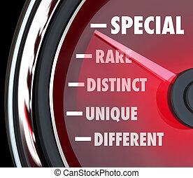 differente, distinto, unicità, misura, tachimetro, speciale