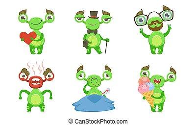 differente, divertente, illustrazione, vettore, situazioni, poco, vario, mostro, set, carattere, mutante, verde, emozioni, cartone animato