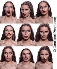 differente, donna, carino, collage, labbra, brunetta, proposta, emotions., fondo, bianco rosso