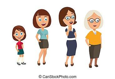 differente, donna, età, set, nonna., bambino, generazioni