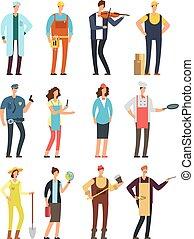 differente, donna, lavorante, isolato, cartone animato, vettore, caratteri, attrezzi, professioni, uniform., uomo