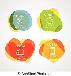 differente, elementi, blobs, colorare, clip-art, text., vettore, sagoma