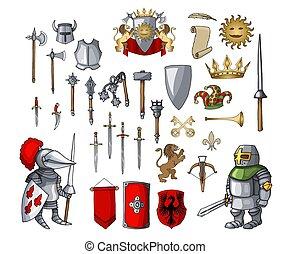 differente, elementi, medievale, cavaliere, carattere, armi, gioco, set, cartone animato