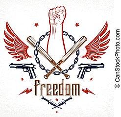 differente, emblema, disegno, partigiano, pugno, caos, armi, aggressivo, o, forte, elementi, revolutionary., tatuaggio, , vettore, ribelle, tumulto, anarchia, rivoluzione, logotipo, stretto