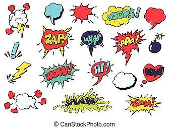 differente, emozioni, vettore, discorso, bolle, comico