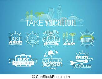 differente, etichette, vacanza, collezione, viaggio