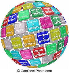 differente, everyone, straordinario, globo, sfera, unico, speciale