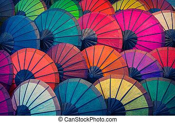 differente, fatto, naturale, prabang., luang, parasole, laos, colori, materiali