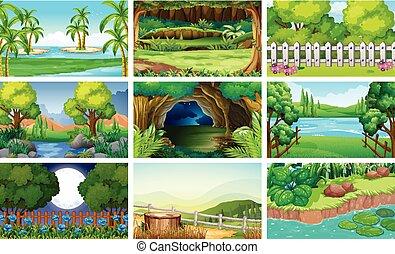differente, fiume, scene, foresta