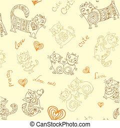 differente, fondo, seamless, carino, oggetti, vettore, animali