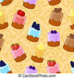 differente, fondo, seamless, shortcakes, vettore, lotto