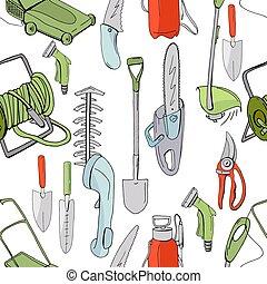 differente, gardening., modello, seamless, struttura, oggetti, disegno, stagione, attrezzi, infinito
