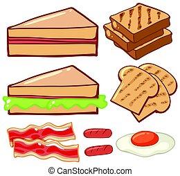 differente, generi, di, colazione