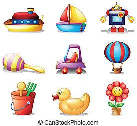 differente, generi, di, giocattoli