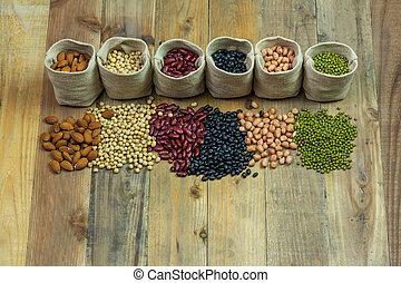 differente, generi, legno, sparso, fagioli, fondo