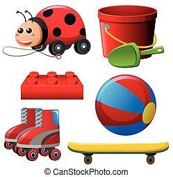 differente, giocattoli, in, rosso, colorare