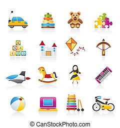 differente, giocattoli, tipo, icone