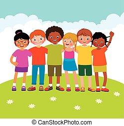 differente, gruppo, bambini, etnico
