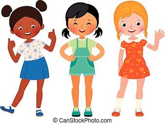 differente, gruppo, nazionalità, tre, amiche, bambini, americano, asiatico, africano, caucasico