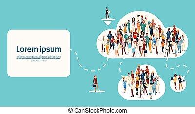 differente, gruppo, rete, persone, comunicazione, personale...