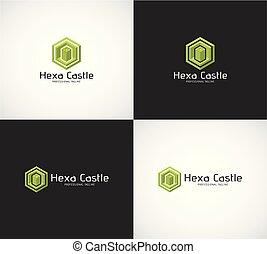 differente, hexa, vettore, colori, castello, logotipo