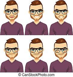 differente, hipster, espressioni, uomo