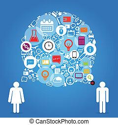 differente, icone, astratto, persone, due, parlare, discorso, nuvola