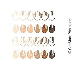 differente, icone, mano, palma, toni, pelle