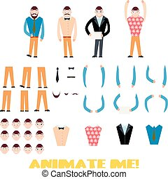 differente, icone, set., creazione, carattere, clothes., emozioni, uomo affari, facce, tipi