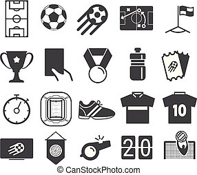 differente, icone, set., football, isolato, vettore, pictograms, bianco, calcio